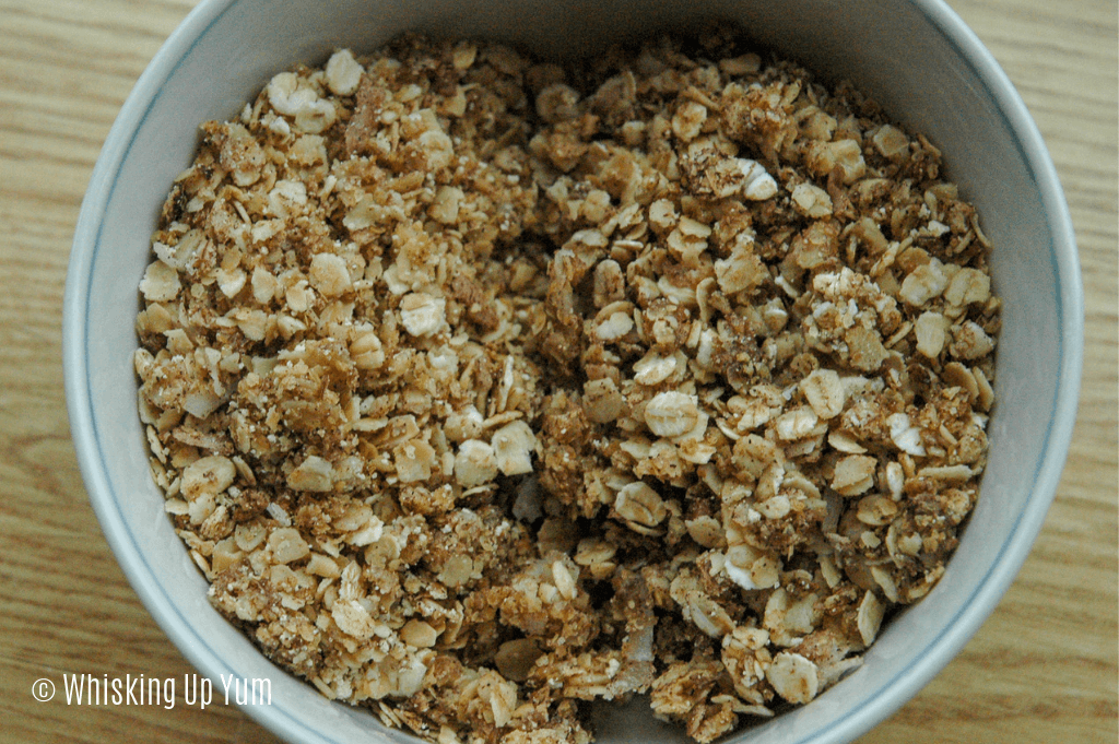 Fresh homemade granola recipe comparing using a silicone baking mat and baking the granola on the pan.