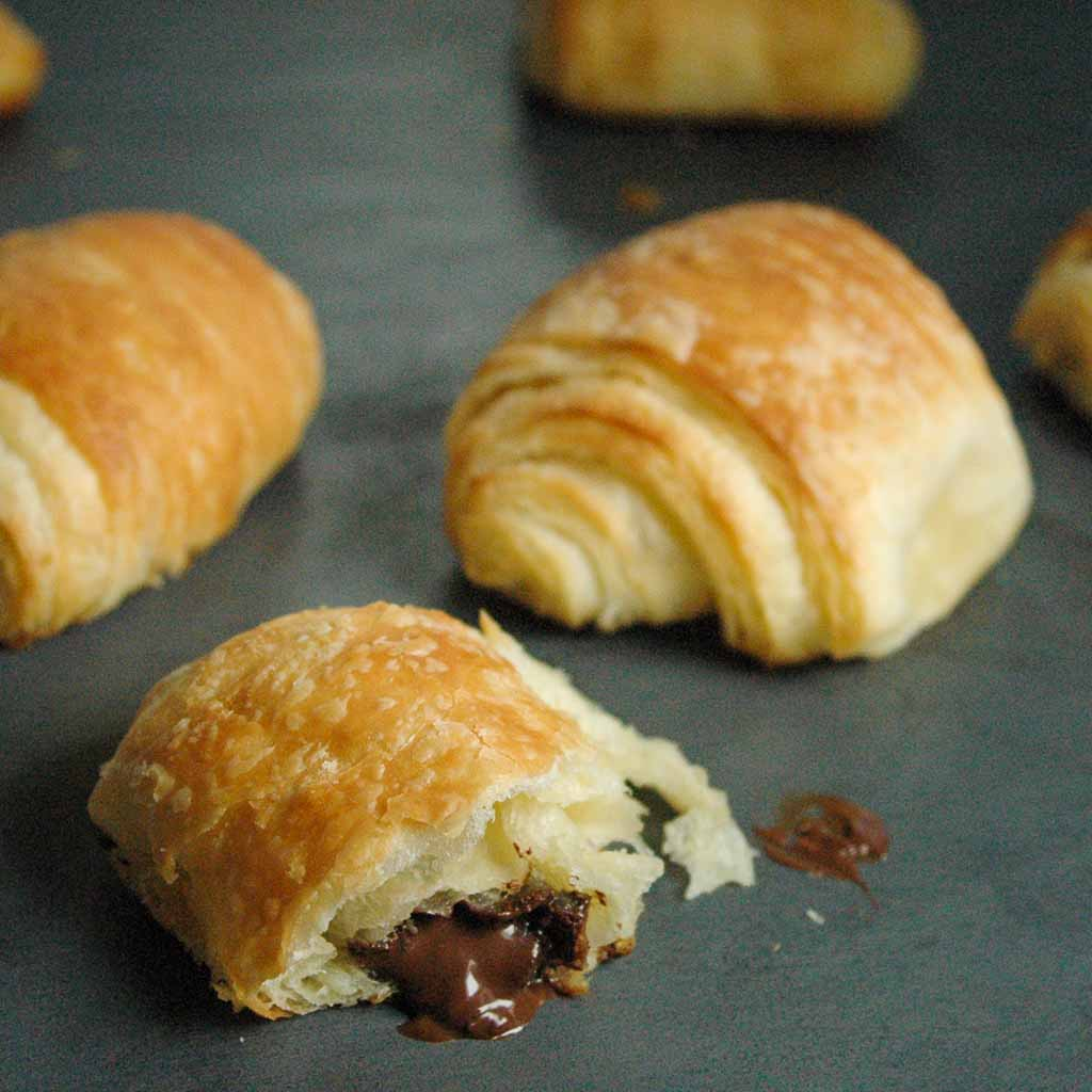 Soft and flaky chocolate croissants