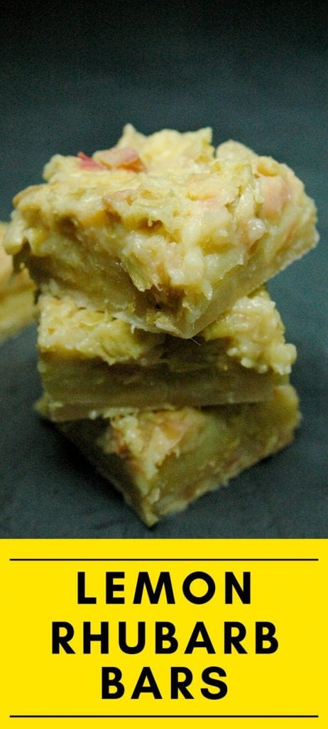 Stack of lemon rhubarb bars